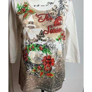 Christmas Shirt Embellished Tis the Season Shirt